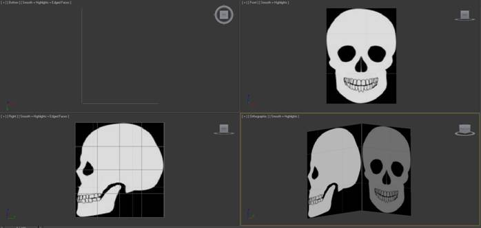 Skull background pictures on two plane objects