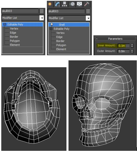 Add a Shell Modifier to the skull