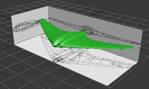 Final flying wing model using three background pictures