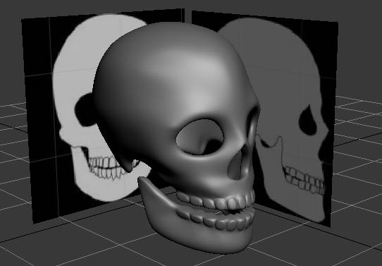 Final 3D model using two background pictures